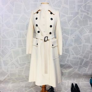 Burberry wool / Cashmere Cream pleated Trench Coat